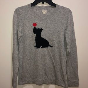 J. CREW Sz S GRAY Scottie DOG Pullover Sweater